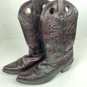 Durango leather western cowboy boots 8.5 maroon